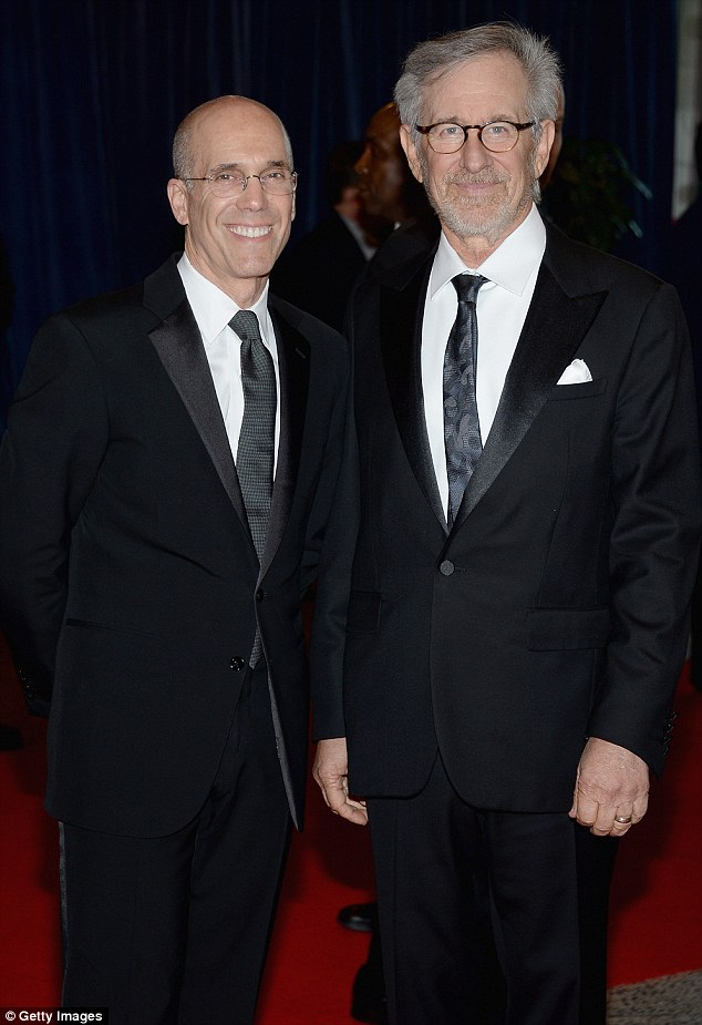 Power players: Producer Jeffrey Katzenberg and Steven Spielberg looked dashing in black suits and glasses at the event