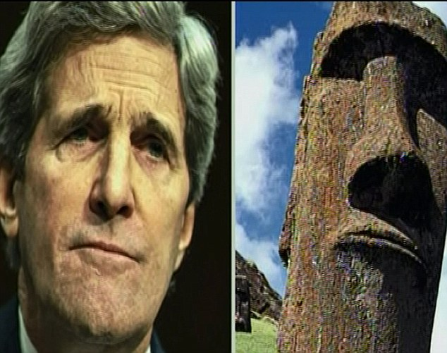 Secretary of slate? John Kerry was re-imagined as an Easter Island stone head