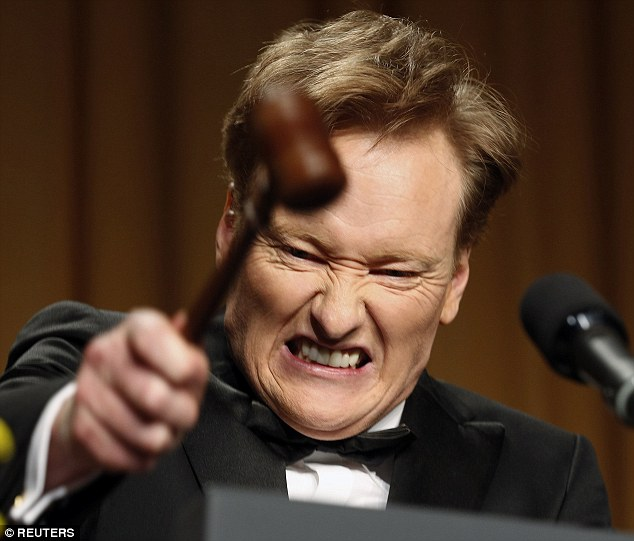 Handover: Obama warmed up the crowd before handing over to comedian Conan O'Brien