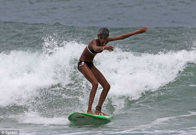 She's an ace: The 12-year-old took to the waves with considerable skill