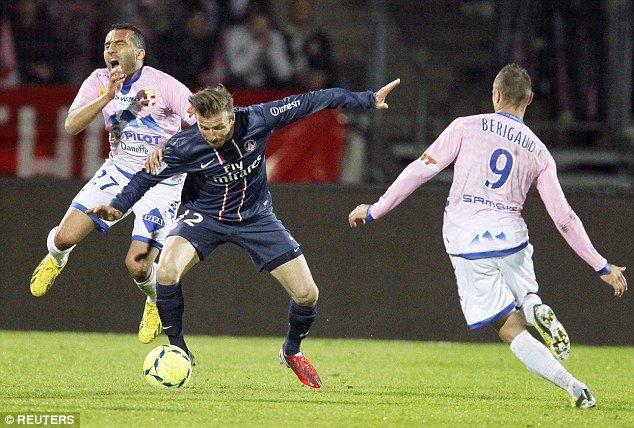 Off: Beckham executes his ill-fated challenge on Adnane