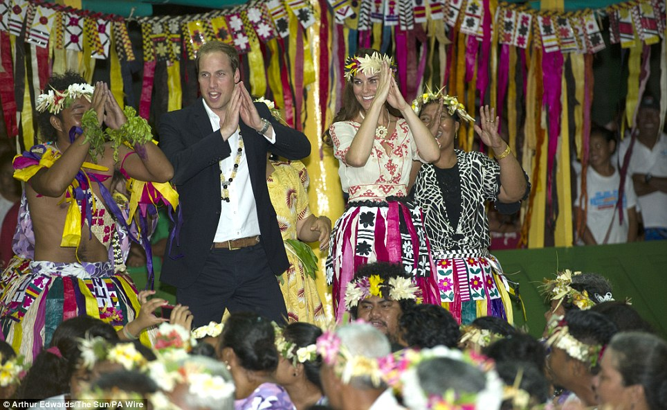 Party people: The Duke and Duchess of Cambridge visit Tuvalu and dance with the ladies at the Vaiku Falekaupule for an entertainment programme during their Diamond Jubilee tour
