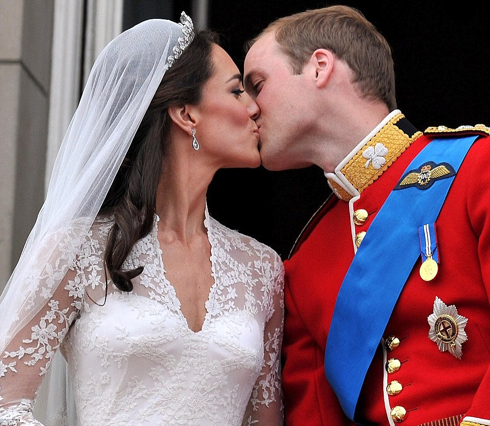 Where it all began: The Royal couple shared a kiss before millions as they tied the knot on April 29th 2011