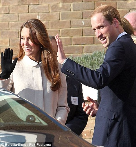 Charitable trips: The Duke and Duchess of Cambridge arrive in the spring sunshine in Saunderton, Buckinghamshire, to visit the offices of Child Bereavement UK