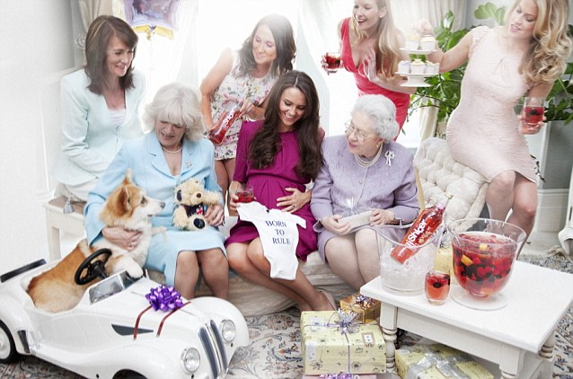 Photographer Alison Jackson created the pictures using look-a-likes of Kate and her family. In this snap the expectant Duchess admires a new luxurious baby grow, whilst Camilla cuddles Rufus the Corgi