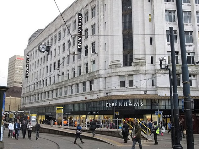 Brazen: The paedophiles attacked the 14-year-old victim in the Debenhams store in Manchester (above) on a busy Saturday afternoon last summer
