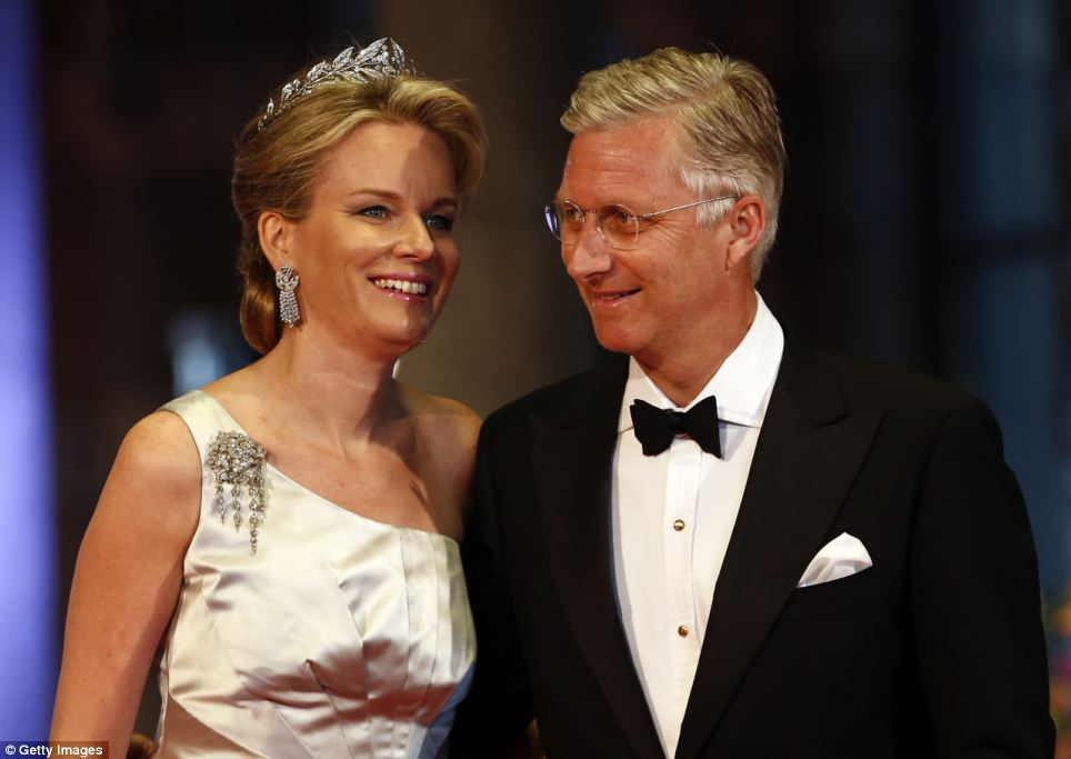 Royal affair: Belgium's Crown Prince Phillipe and Princess Mathilde arrive for a banquet hosted by the Dutch Royal family at the Rijksmuseum, Amsterdam this evening