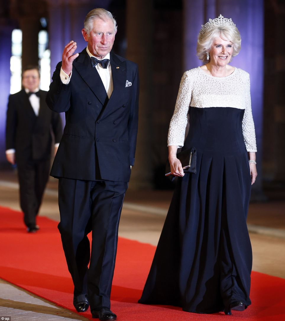 Celebration: Prince Charles and wife Camila, Duchess of Cornwall, arrive for a banquet hosted by the Dutch Royal family at the Rijksmuseum, Amsterdam, this evening