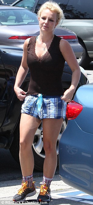 Trick of the light: Britney's thighs looked a lot smoother from other angles