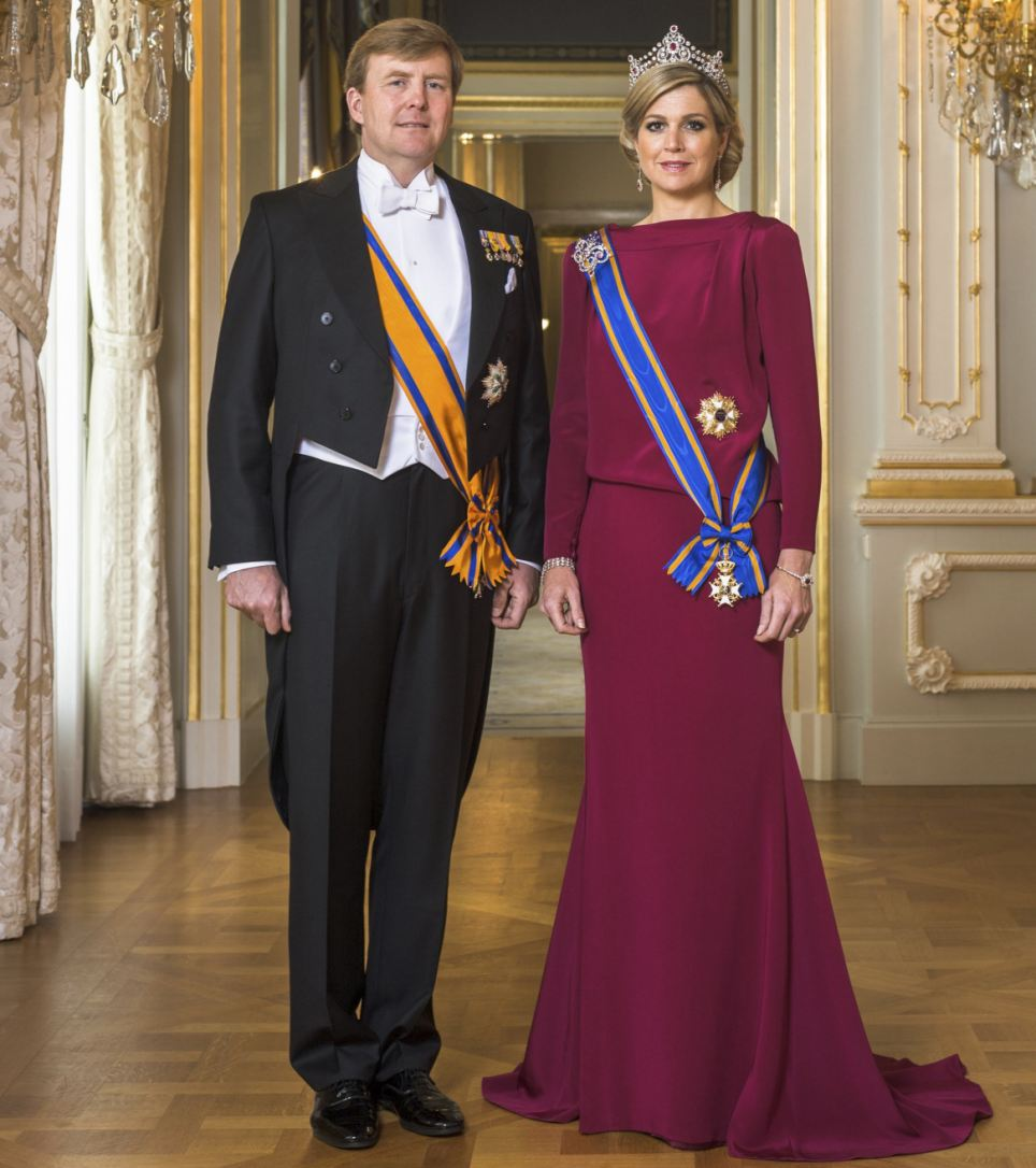 Strike a pose: Dutch King Willem-Alexander and his wife Queen Maxima are seen in this official portrait