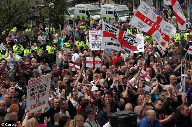 Rally: The plotters were targeting this EDL rally in Dewsbury, West Yorkshire, but were foiled because they arrived too late - after the crowds had gone
