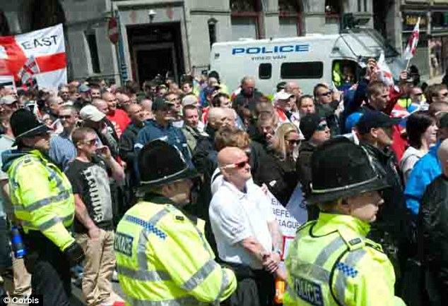 Attack plan: Around 750 EDL members, rivals from Unite Against Fascism and dozens of police officers were at the rally which the Muslim extremists were targeting