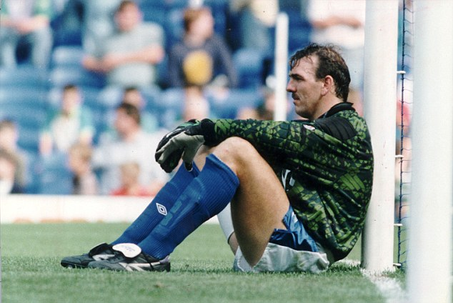 The post man delivers: Neville Southall might be taking a rest against the woodwork here but he pipped Banks and Co into Jamie Carragher's team