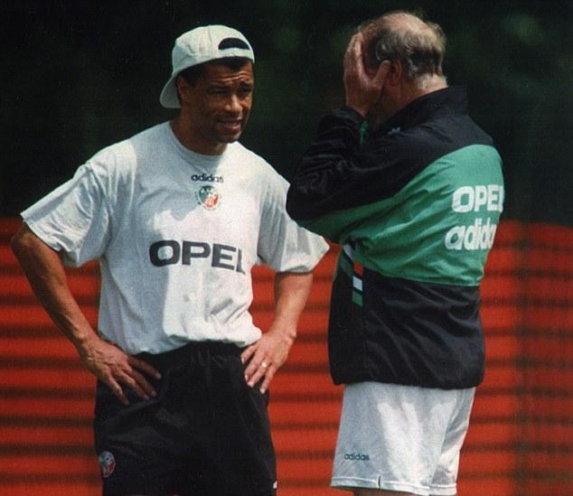 Capped: Aston Villa and Republic of Ireland great Paul McGrath (left) makes Adrian Durham's team