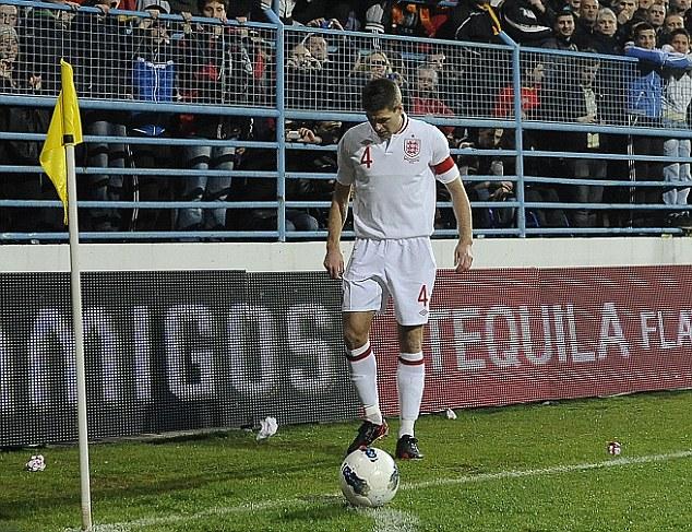Skipper: Liverpool midfielder Steven Gerrard remains the England captain under Roy Hodgson