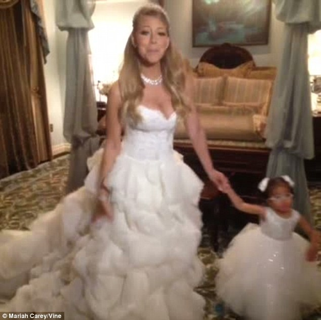 Fairytale princess: Mariah Carey renewed her wedding vows with husband Nick Cannon for a fifth time on Tuesday