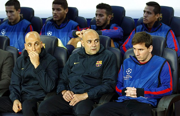 Hamstrung: Lionel Messi (right) was left on the bench despite Barca's need to overturn a four-goal deficit