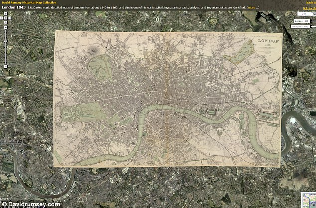 This map depicts central London in 1843. B.R. Davies made detailed maps of London from about 1840 to 1869, and this is one of his earliest. Buildings, parks, roads, bridges, and important sites are identified