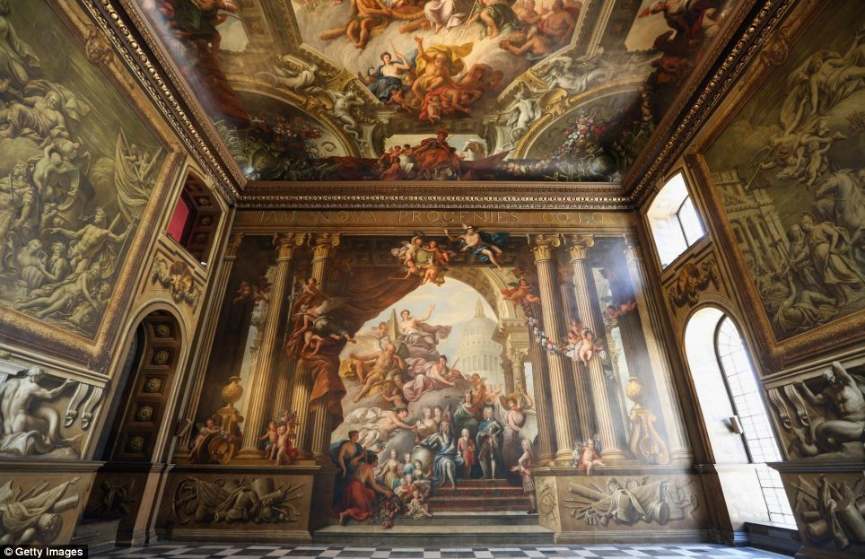 Restored: The stunning West Wall of the painted Hall at the Old Royal Naval College in Greenwich. Months of work to restore it to its former glory have been completed