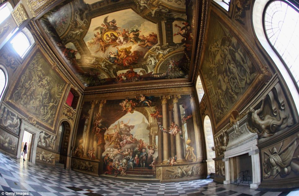 Beautiful: James Thornhill, the artist who painted the dome in St Paul's Cathedral, was commissioned to decorate the hall and spent 19 years painstakingly working on it