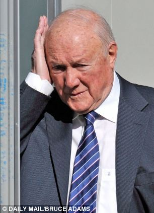 Shamed: Broadcaster Stuart Hall pictured outside Preston Crown Court on Thursday
