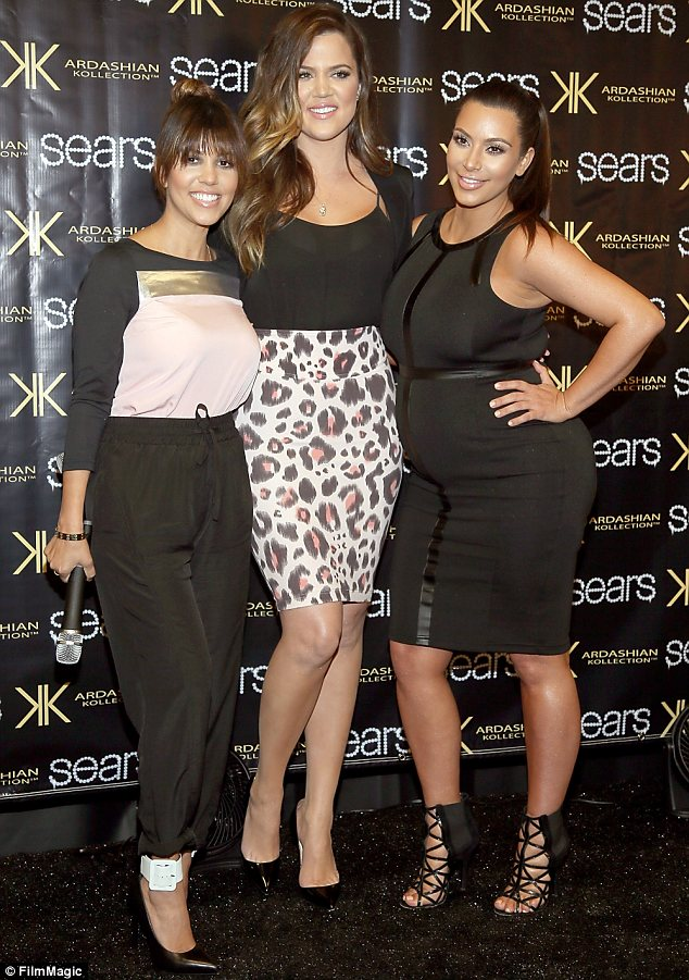 Sister act: Kim was joined by sisters Kourtney (L) and Khloe as they promoted their Kardashian Kollection for Sears