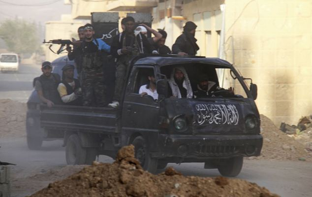 Rebel fighters: The clashes are taking place in the al-Ziyabiya area, in Damascus