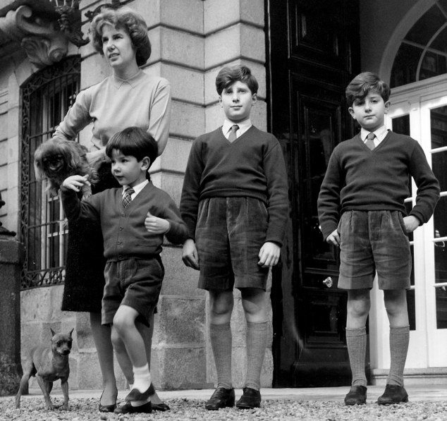 Highborn: The Duchess of Alba with her eldest children pictured in Madrid three years earlier, in 1959