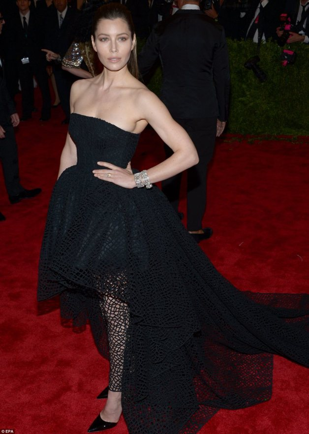 Heavy metal: Jessica Biel, who sported head-to-toe Giambattista Valli, took a unique approach with a ring through her nose