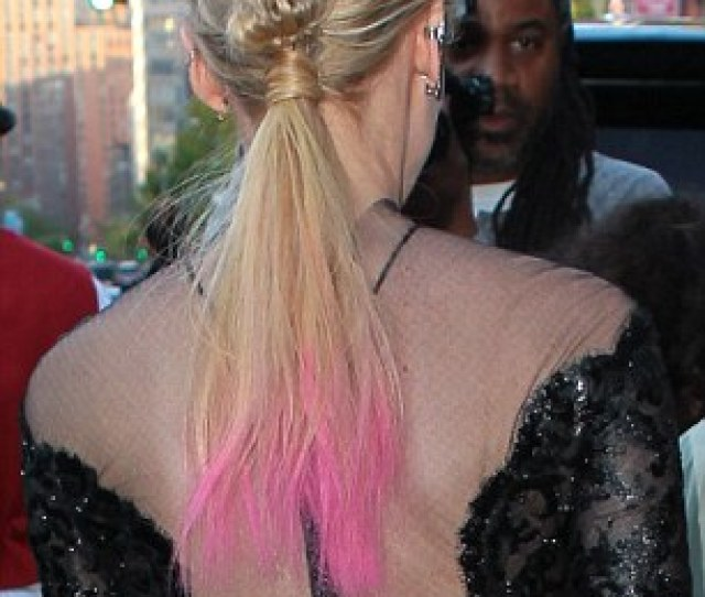 Pink Accents Diane Kruger Dip Dyed Her Long Blond Ponytail In Fuchsia Pink