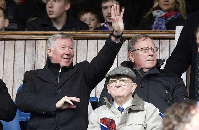 Cheerful: Ferguson in the Ibrox directors' box at the Rangers v Man United legends match this week