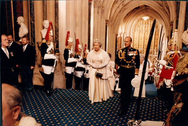 Queen Elizabeth II and Prince Philip at State Opening of Parliament in 1992