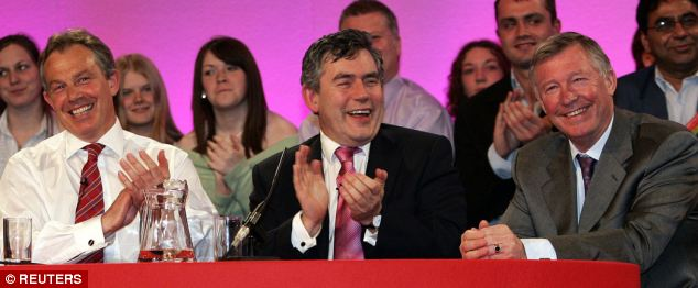 Then Prime Minister Tony Blair (left) and Chancellor of the Exchequer Gordon Brown applaud Manchester United manager Sir Alex Ferguson (right) during a Labour Party election rally in Oldham, in 2005