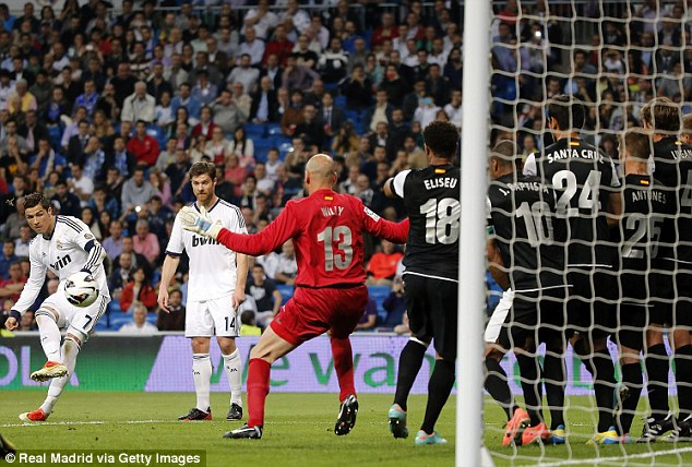 Take that: Ronaldo lashes in a free-kick to score his 200th Real Madrid goal