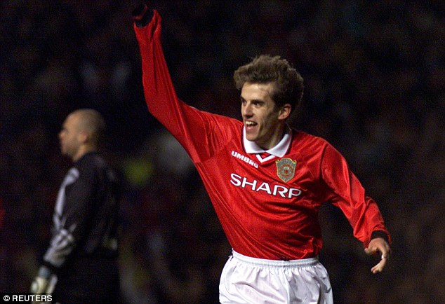 Former Red: Neville made 386 appearances for United from 1994 to 2005 before moving to Everton