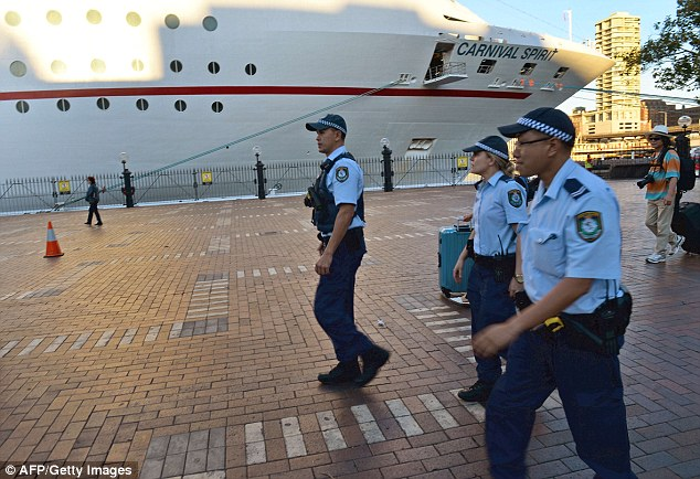 Police combed the cruise ship while it was berthed at Sydney's Circular Quay before it set sail again last night