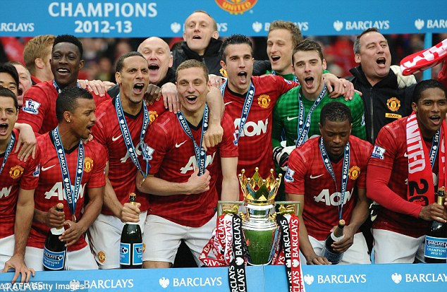 Party time: United players get ready to celebrate... and the party kicks off (below)