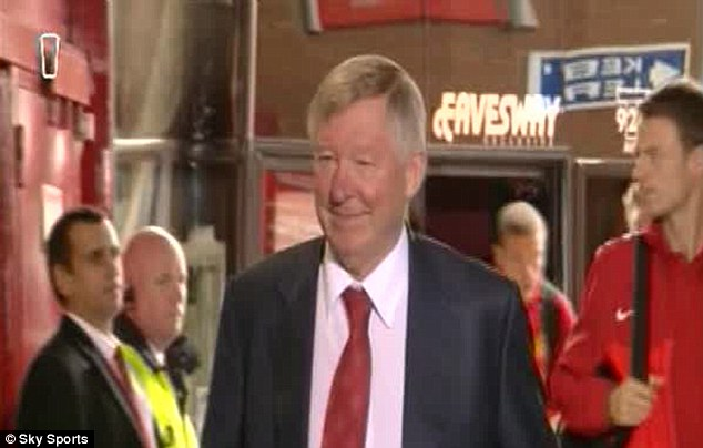 All smiles: Ferguson arrives for his last ever game at Old trafford