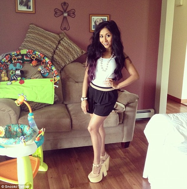 Slimline Snooki: The Jersey Shore star showed off her Mother's Day ensemble -- and a trim waistline