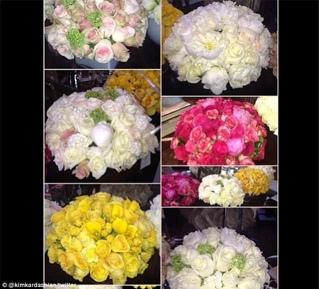 Popular women: Kim posted a collage of the family's floral arranged