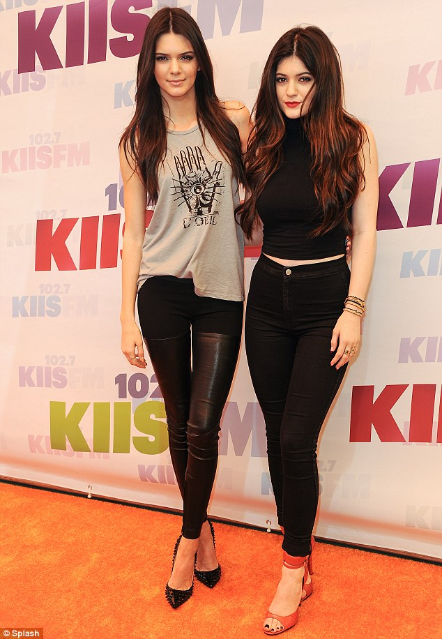 Lucky sisters: Kim recently said that her 'little sisters (Kendall Jenner, left, and Kylie Jenner, right) have grown up so amazingly, with really good heads on their shoulders,' giving her hope for her future child