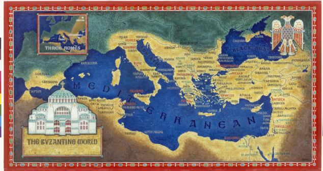 An artist's recreation of the Byzantine Empire under Justinian I - which was decimated by the plague