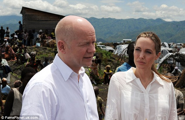 Travelling: Angelina, pictured March 26 this year, travelled to the Republic of Congo with Hague for her humanitarian duties during the month of March
