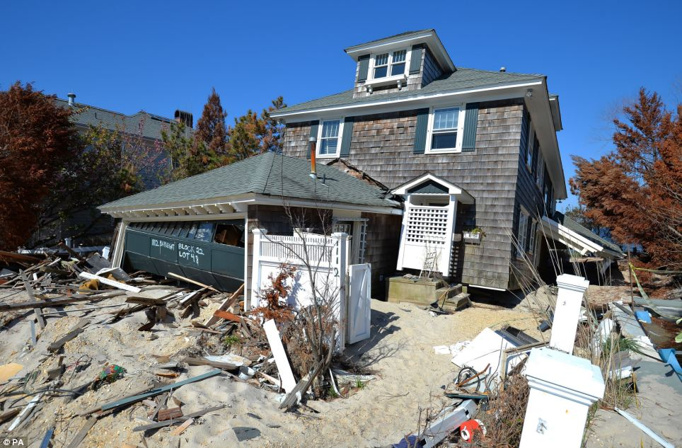 Wreckage: A home in the borough of Ocean Heights, New Jersey that was seen by Prince Harry