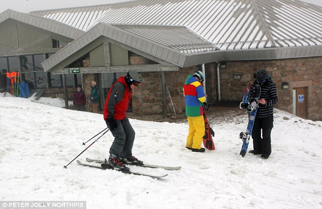 Active: Skiers were out at Cairngorm in the Scottish Highlands, where there is still a good covering of snow