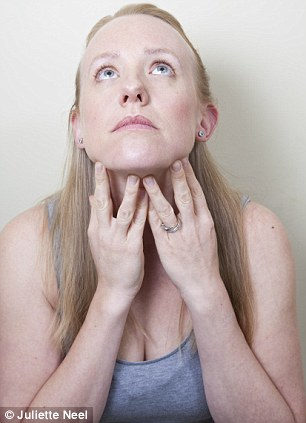 The Giraffe: Tilt the head back while stroking the neck. Bring the head down. Repeat twice, then jut lower lip, place fingers on collarbone and point chin upwards, pulling corners of mouth down. Hold for four deep breaths