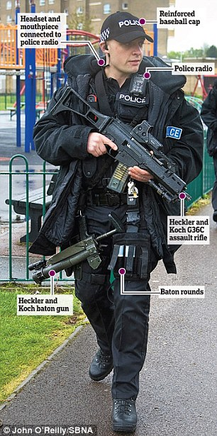 Armed officers patrol the streets of LUTON to stop ...
