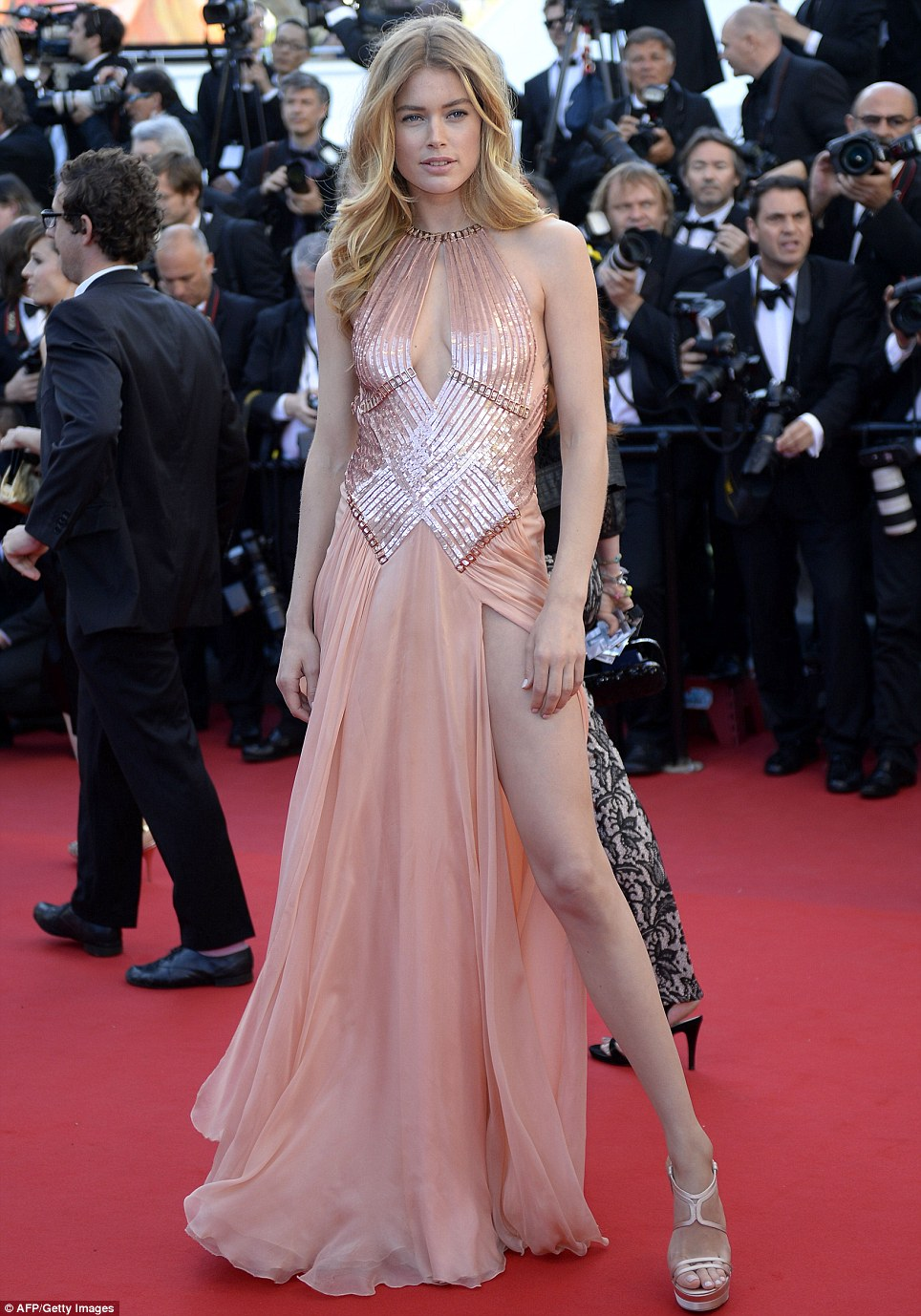 In the pink: Dutch supermodel Doutzen Kroes joined fellow L'Oreal girl Eva at the premiere in a dazzling pink gown