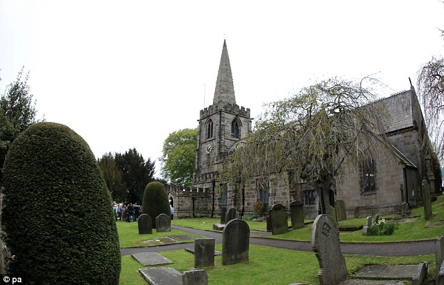 Going to the chapel: The couple got married at St Michael and All Angels Church in Hathersage, Derbyshire