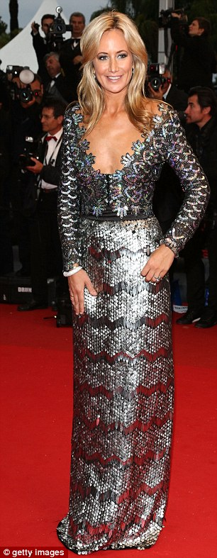 Decadent ladies: Lady Victoria Hervey was a stunner in her silvery sequins while Cheryl Cole attracted attention in her sheer burgundy frock